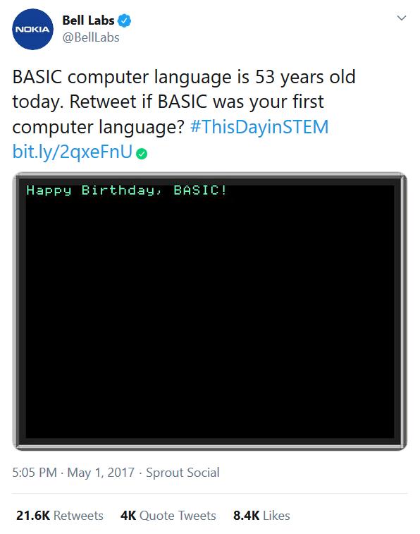 BASIC Tweet Nokia Bell Labs Twitter